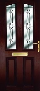 UPVC Doors Wood Effect 2 Glass Panels