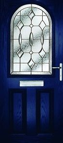UPVC Doors Blue arch top Glass Panel