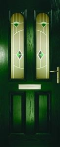 UPVC Doors Green 2 Glass Panels